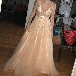 Embellished V Neck Prom Gown